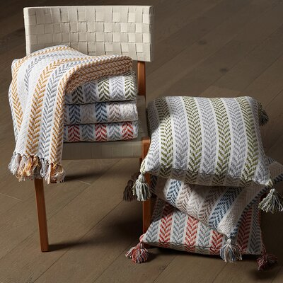 Lockwood Chevron Cotton Throw Color: Orange/Gray