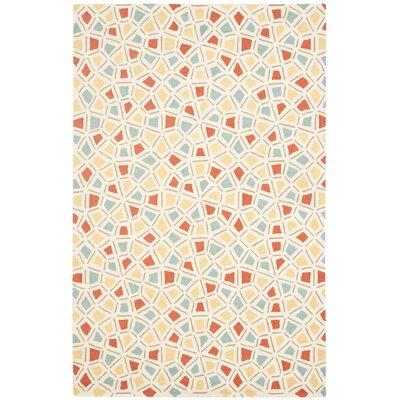 Spring Wheel Beige/Red Area Rug Rug Size: 56 x 86