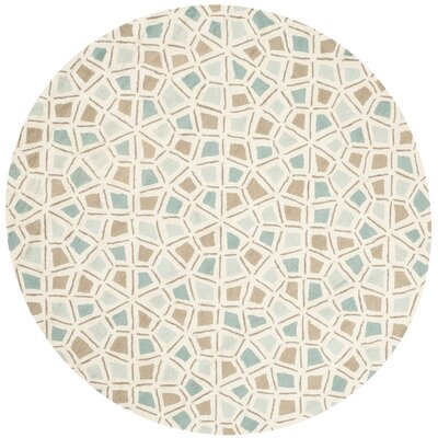 Spring Wheel Blue/Brown Area Rug Rug Size: Round 6