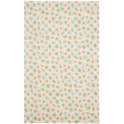 Spring Wheel Blue/Beige Area Rug Rug Size: Rectangle 26 x 43