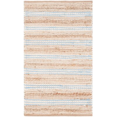 Arria Hand-Woven Natural/Light Blue Area Rug