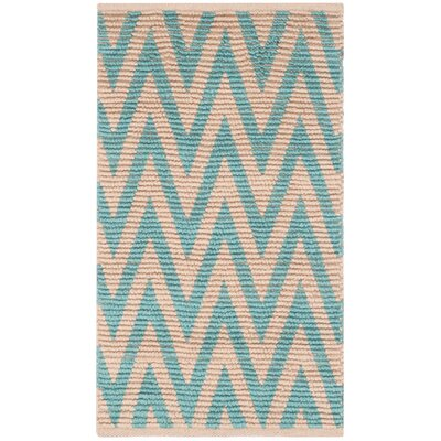 Palm Coast Hand-Woven Natural/Turquoise Area Rug