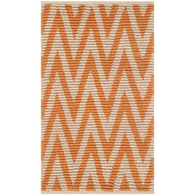 Palm Coast Hand-Woven Natural/Orange Area Rug