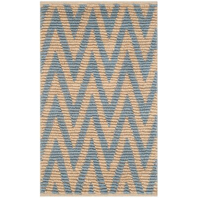 Arria Hand-Woven Rectangle Natural/Light Blue Area Rug