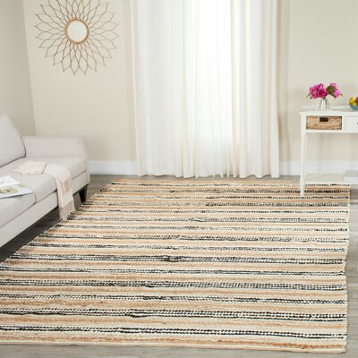Arria Hand-Woven Natural/Black Area Rug Rug Size: Rectangle 8 x 10