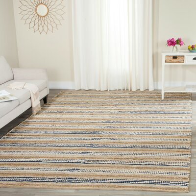 Arria Hand-Woven Natural/Blue Cotton Area Rug Rug Size: Rectangle 8 x 10