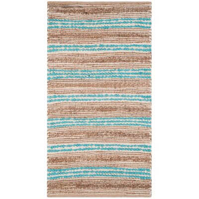 Arria Hand-Woven Natural/Teal Area Rug Rug Size: Rectangle 23 x 39