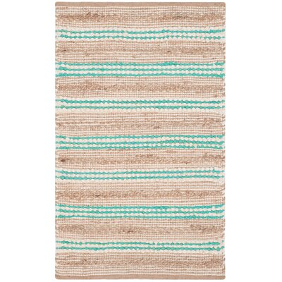 Arria Hand-Woven Natural/Turquoise Cotton Area Rug Rug Size: Rectangle 3 x 5