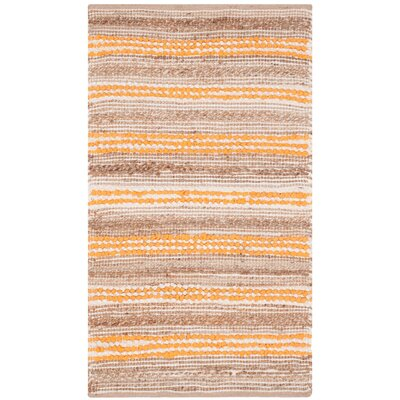 Arria Hand-Woven Natural/Orange Cotton Area Rug Rug Size: Rectangle 23 x 39