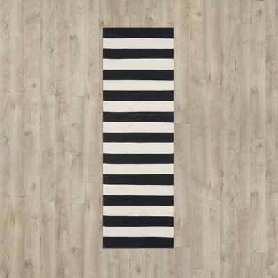 Ona Hand-Woven Black / Ivory Area Rug Rug Size: Runner 23 x 6