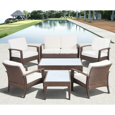 Aquia Creek 7 Piece Lounge Seating Group with Cushion Color: Brown / Off White