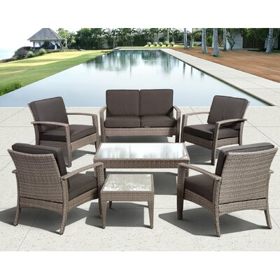 Aquia Creek 7 Piece Lounge Seating Group with Cushion Color: Grey / Grey
