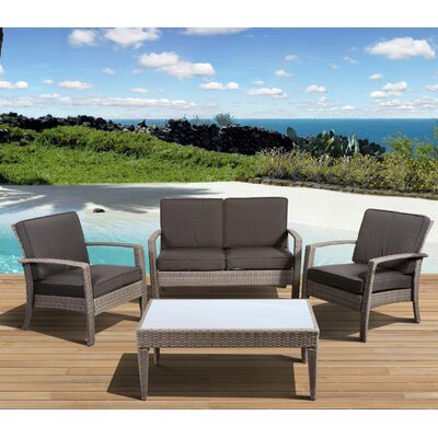 Aquia Creek 4 Piece Lounge Seating Group with Cushions Color: Grey / Grey