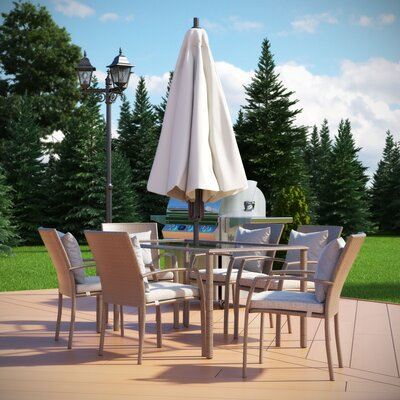 Gretna 7 Piece Dining Set with Cushion
