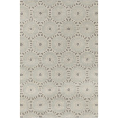 Purdue Hand Tufted Wool Cream/Light Blue Area Rug Rug Size: 5 x 76