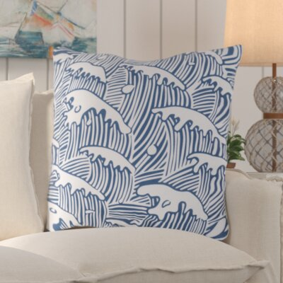Solana Waves Of Grace Outdoor Throw Pillow Size: 18 W x 18 D, Color: Cobalt