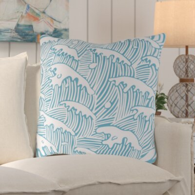 Solana Waves Of Grace Outdoor Throw Pillow Color: Aqua, Size: 18 W x 18 D