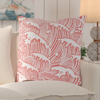 Solana Waves Of Grace Outdoor Throw Pillow Size: 20 W x 20 D, Color: Coral