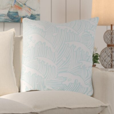 Solana Waves Of Grace Outdoor Throw Pillow Size: 18 W x 18 D, Color: Light Blue