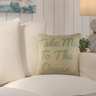 Brownsdale Ocean Wishes Burlap Throw Pillow Color: Blue / Natural