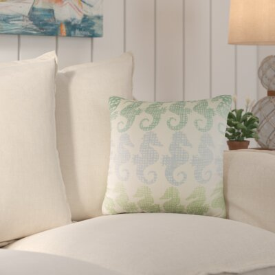 Heatherfield Cotton Throw Pillow Color: Green/Blue