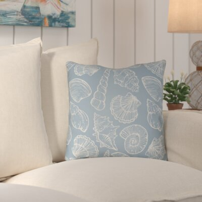Brookline Shells III Indoor/Outdoor Throw Pillow Size: 18 H x 18 W x 4 D, Color: Blue