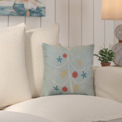 Decorative Holiday Geometric Print Throw Pillow Color: Aqua, Size: 18 H x 18 W