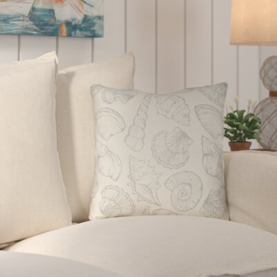 Brookline Shells III Indoor/Outdoor Throw Pillow Size: 18 H x 18 W x 4 D, Color: Light Blue