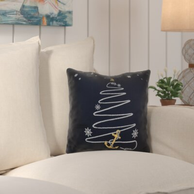 Decorative Holiday Geometric Print Outdoor Throw Pillow Size: 16 H x 16 W, Color: Navy Blue