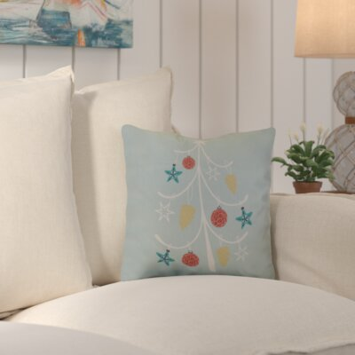 Decorative Holiday Geometric Print Outdoor Throw Pillow Color: Aqua, Size: 18 H x 18 W