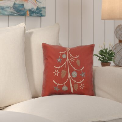 Decorative Holiday Geometric Print Outdoor Throw Pillow Size: 16 H x 16 W, Color: Coral