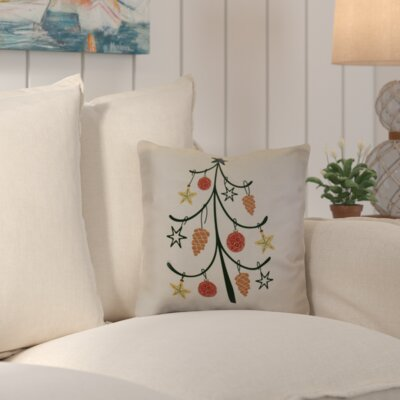 Decorative Holiday Geometric Print Throw Pillow Size: 16 H x 16 W, Color: Off White