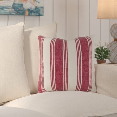 Douglasville Cotton Throw Pillow Size: 18 H x 18 W x 4 D, Color: Burgundy/Ivory