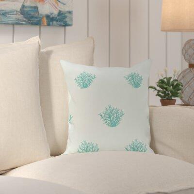 Cypress Lake Coastal Print Outdoor Pillow Size: 18 H x 18 W x 1 D, Color: Aqua
