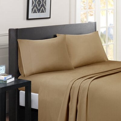 Calderwood Solid Sheet Set Color: Khaki, Size: Extra-Long Twin