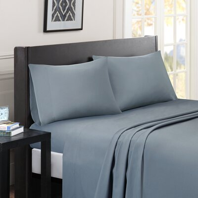 Calderwood Solid Sheet Set Size: King, Color: Blue