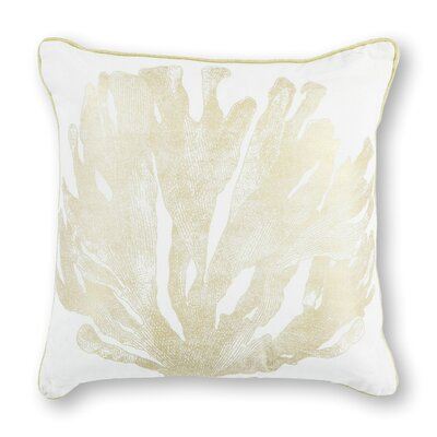 Hillside Cotton Throw Pillow Color: Ivory/Gold