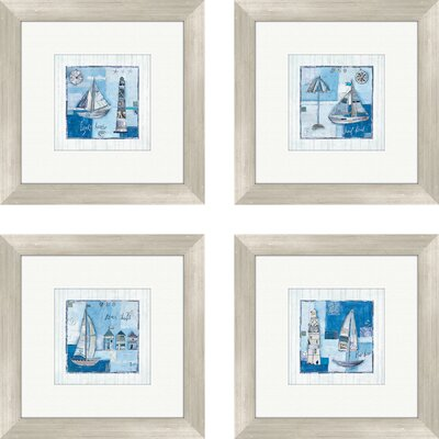 'Coastal Light House and Sailboats' 4 Piece Framed Graphic Art Set