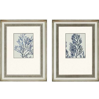 'Indigo Coral I' 2 Piece Framed Graphic Art Set