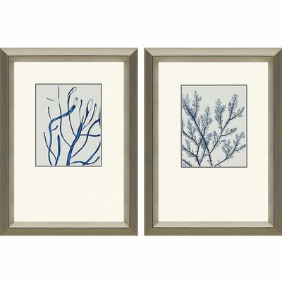 'Indigo Coral II' 2 Piece Framed Graphic Art Set