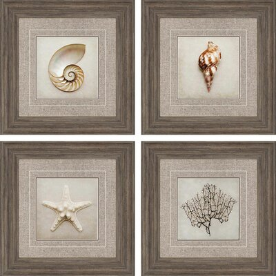 'Ocean I' 4 Piece Framed Graphic Art Set