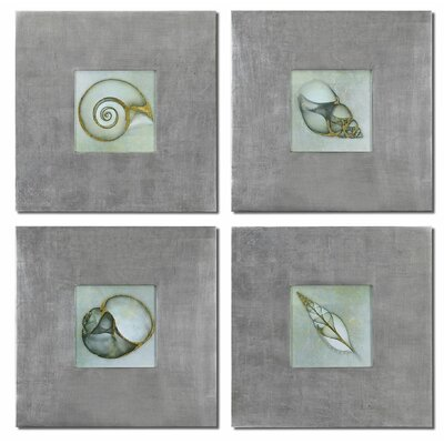 'Neptunes Garden' 4 Piece Framed Painting Print Set