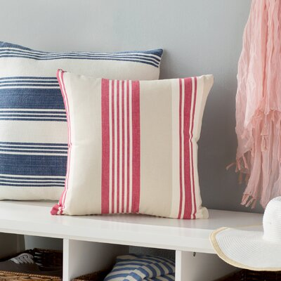 Cape Canaveral Stripe Throw Pillow Color: Coral Red, Size: 24