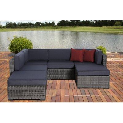 Aquia Creek 6 Piece Deep Seating Group with Cushion Fabric: Grey