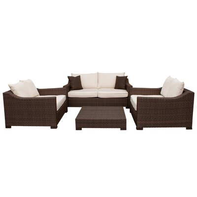 Aquia Creek 4 Piece Deep Seating Group with Cushions Fabric: Orange