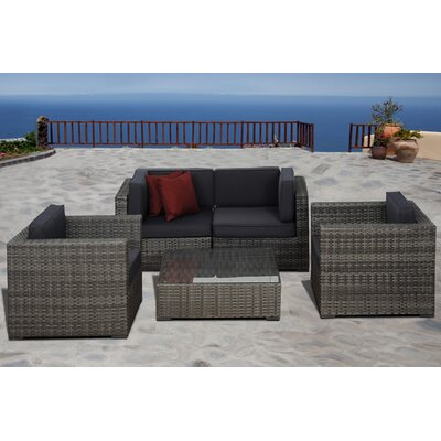Aquia Creek 5 Piece Deep Seating Group with Cushions Fabric: Grey