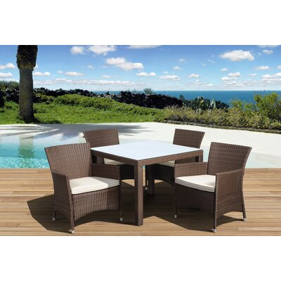 Aquia Creek 5 Piece Dining Set Color: Brown / Off-White