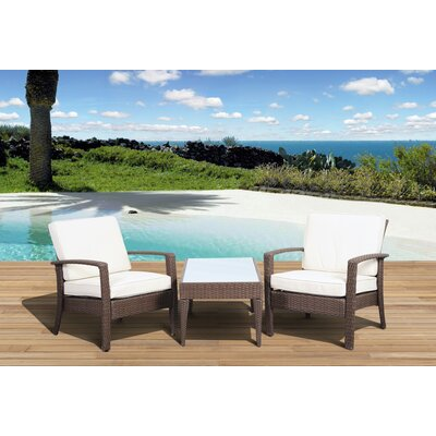 Aquia Creek 3 Piece Seating Group with Cushion Color: Brown / Off-White