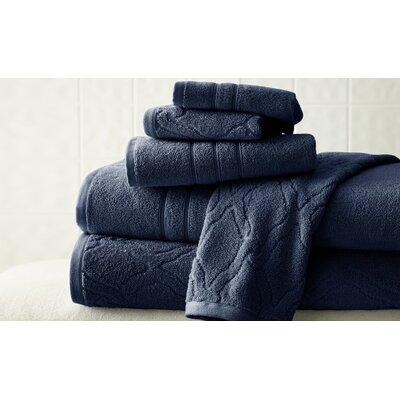 6 Piece Superior Combed Cotton Towel Set Color: Navy