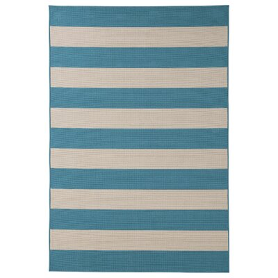 Braelynn Blue/Cream Indoor/Outdoor Area Rug Rug Size: 53 x 76